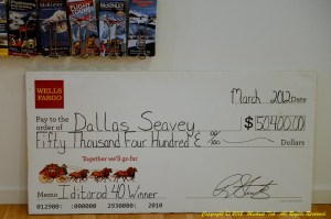 Dallas' Winning cheque